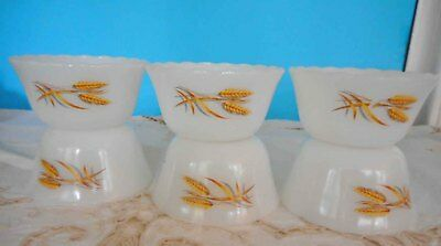 Vintage Pyrex, Milk Glass Fire King 'Wheat' Custard Cups 6 in total ex condition
