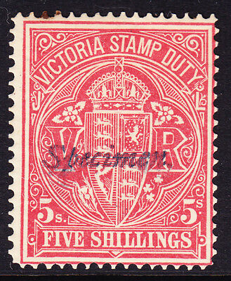 L46 5/- Red Victorian Specimen/CTO Stamp Duty Hinged Rust spot
