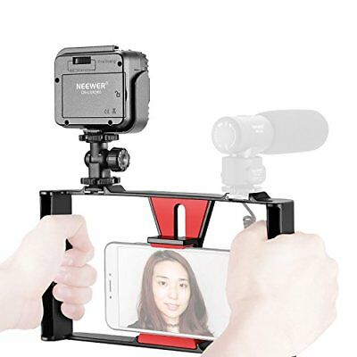 Neewer Smartphone Vídeo Rig con Regulable 36 LED Video Luz (Rig Rojo + 36 LED)