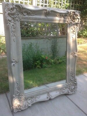 Antique French Style Decorative Wall Mirror Carved Painted Grey Repro Rococo