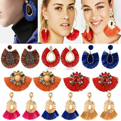 Hot Women Vintage Fish Bohemian Boho Dangle Long Tassel Fringe Ear Drop Earrings