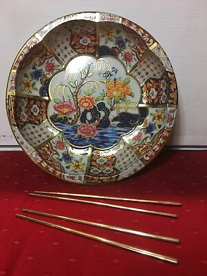 Nice Set Of Two Pairs Of Bronze Chopsticks And Daher Painted Metal Bowl