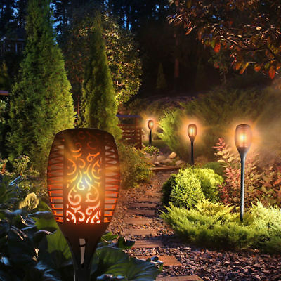 2019 LED Solar Powered Path Flickering Torch Light Flame Garden Landscape Stake