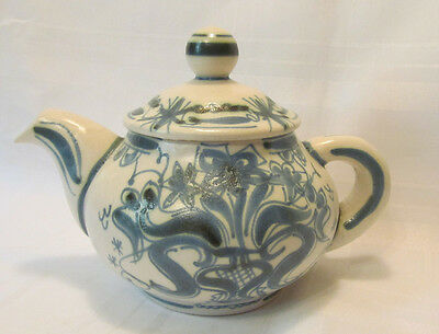 Quimper Keraluc Hand Painted French Faience Blue & White Teapot with Lid REDUCED