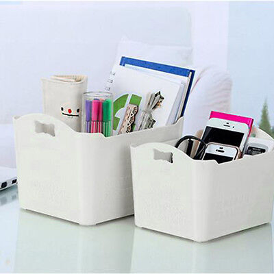 3Pcs Table Storage Boxes Organizer Home Office Plastic Countertop Container