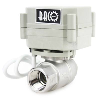 "BACOENG 1/2"" 3/4"" 1"" BSP SS304 Normally Open N/O Motorized Electric Ball Valve"