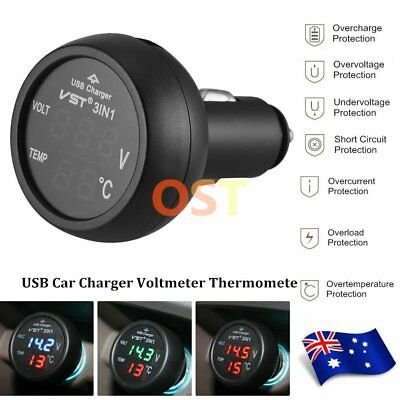 3in1 Digital LED USB Car Charger Voltmeter Thermometer Battery Monitor 12V LOT F