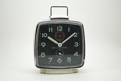 Vintage Seiko Corona Repeat alarm clock Japan Wecker 1960 square Eckig wind up