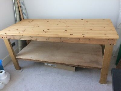 """6'6"""" x 3' x 3' Wooden Work Table Bench"""