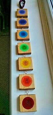 Chakra Wooden Hanging Rustic Wall Art Hand Painted Meditation