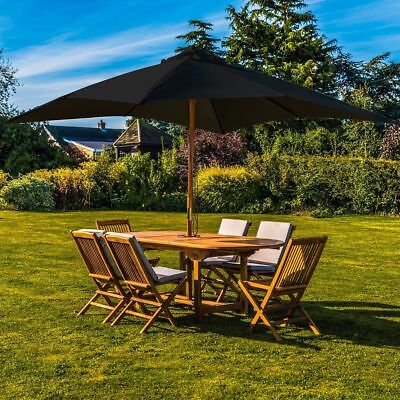 New Kingfisher Black 3M Wooden Pole Parasol Large Table Canopy Garden Furniture