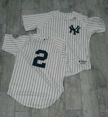 5a91e5782 New York Yankees Derek Jeter  2 MLB Stitched Jersey Patch sz 52 White -PMJS