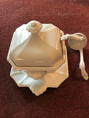 Vintage Red Cliff Ironstone White Soup Tureen, Lid, Underplate, & 2 Ladles