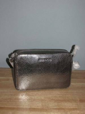 df15fc6acd31 Michael Kors Ginny Medium Embossed Leather Camera Bag Light Pewter Silver  NWT