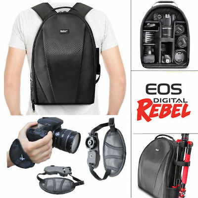 Vivitar Camera Backpack Bag + Wrist Grip For Canon  Rebel Sl1 Sl2 6D 7D T5 T6