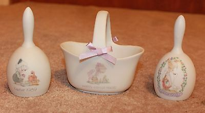 PRECIOUS MOMENTS 3-Piece Easter Set - 1989 Bell; 1993 Bell; Happy Easter Basket