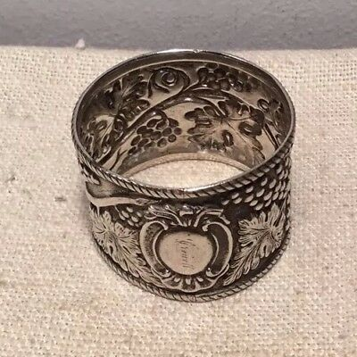 Antique Art Nouveau Sterling Silver Grape Vine Floral Napkin Ring