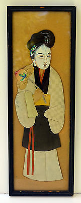 Antique / Vintage Chinese Wall Art OSHIE Silk Fabric Kimono Official Man Doll