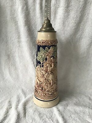 "Large 17"" 2 Liter Gerz West German stein, Horseman conversing with maiden"