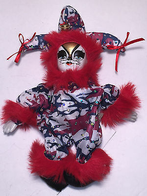 """New 10"""" Cat white face jester red fur with sequins, clown, Harlequin D1916"""