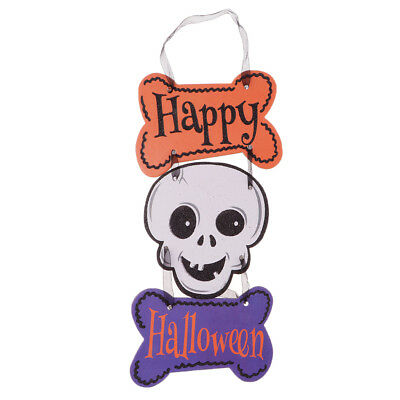 Happy Halloween Skull Head Paper Hanging Board Plaque Haunted House Sign