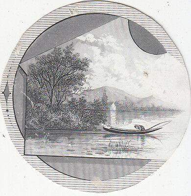Devlin & Co Clothing Cutout Boat in Lake Circle Victorian Card c 1880s