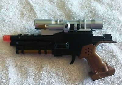 "Star Wars Lucasfilm LTD Toy Blaster Gun Lights Sounds 6"" Brown Handle"