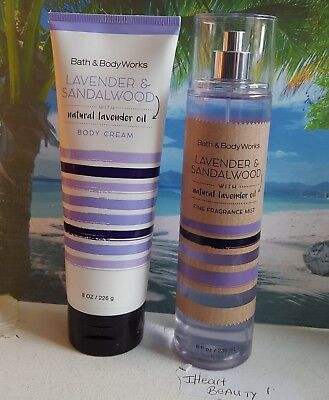 bath and body works lavender & sandalwood body cream and fine fragrance mist