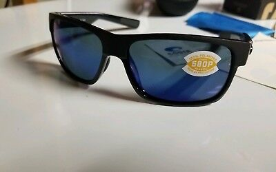28e704af28 Costa Del Mar Half Moon Sunglasses Shiny Matte Black Frame Blue Mirror 580p  Lens