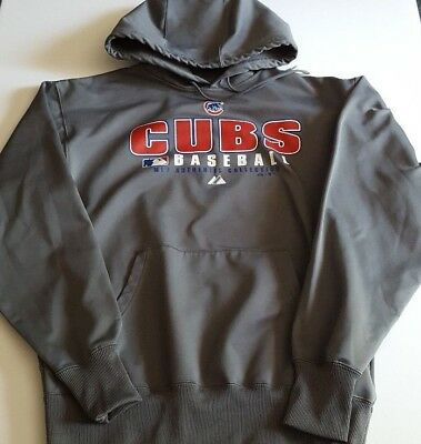 huge selection of 6f758 a857a CHICAGO CUBS MAJESTIC Sweatshirt Hoodie Pullover SZ M Therma Base Grey  Baseball