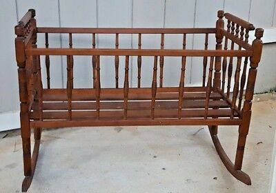 Antique Baby Cradle circa 1900 Bentwood Turned Spindle Beautiful