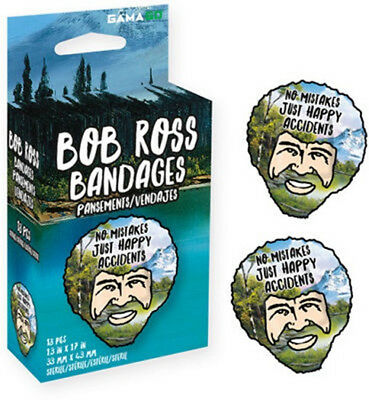 Bob Ross The Joy of Painting Just Happy Accidents Box of 18 Illustrated Bandages