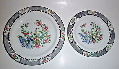 2 Antique Plates 1 Lunch & Desert Corona Ware Shancock & Sons Rockery & Pheasant