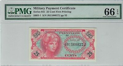 """Military Payment Certificate, Series 641 25 Cent """"First Printing' PMG 66 EPQ"""