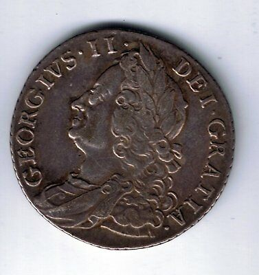 1758 George II sterling silver shilling - 5.9g