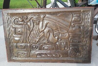 Large Odd Antique Carved Wood Aztec Mayan Panel Sculpture Wall Art Pre-Columbian