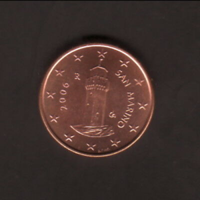 San Marino--2006 UNC--1 EuroCent Coin--Montale Tower