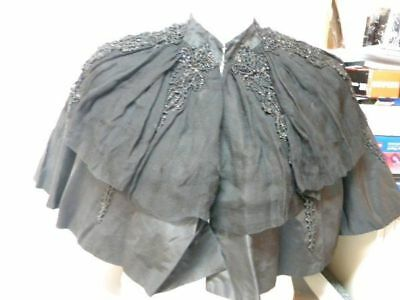 Antique Victorian/Edwardian Black Silk Shoulder Cape with Beading