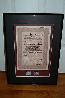 1942 JUNKERS WAR BOND, WW 2, 1000 Reichmarks PROFESSIONALLY FRAMED MUSEUM GLASS
