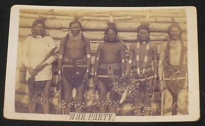 Vintage Native American Indian Braves War Party Photo Reproduction Cabinet Card