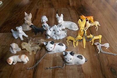 Lot of 18 Vintage Miniature Dogs Figurines  w/Chains, Glass, Porcelain