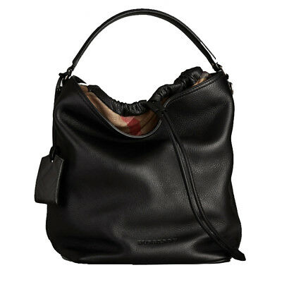 c799491d30 NWT Authentic Burberry Medium Ashby Black Leather Hobo Bag Retail Price  $1,095