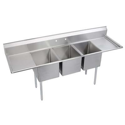 Elkay 3 Tub Restaurant Sink With Left And Right Drain Boards Stainless
