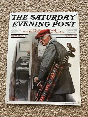 ✨Norman Rockwell The Saturday Evening Post Metal Sign The Golfer✨New✨