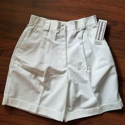 Westbound Womens Shorts Size 12 VTG 80s White High Waisted Pleated Tennis
