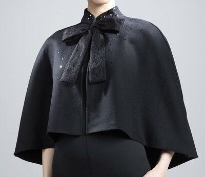 f0e58a3ec Prabal Gurung Target Neiman Marcus Black Cape Poncho Lace Bow Sequin Evening  New