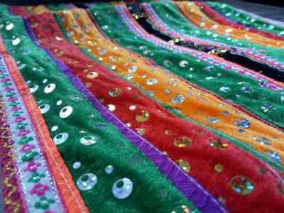 HMONG Antique Handmade Fabric Embroidery Tablecloth Decorate Hippie Vintage R-29