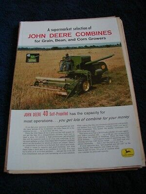 1961 john deere magazine print ad shows combines 4 page color