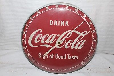 """Vintage 1950's Coca Cola Soda Pop Gas Station 12"""" Metal & Glass Thermometer Sign"""