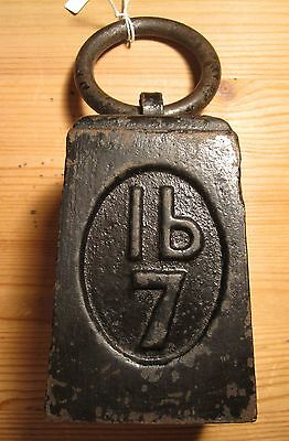 Vintage Post Office 7lb Cast Iron Ring Weight make useful Paper Weight (3716)